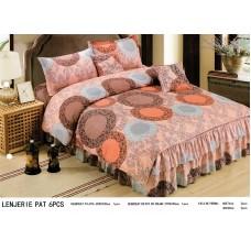 Lenjerie de lux cu volanase pentru pat dublu - bumbac satinat gros - VL03