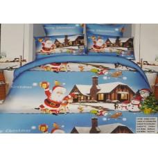 Lenjerie de pat cu 6 piese din bumbac satinat gros cu Mos Craciun - GIN01