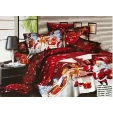 Lenjerie de pat cu 6 piese din bumbac satinat gros cu Mos Craciun - GIN02