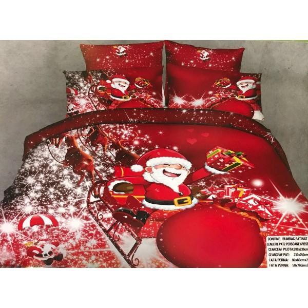 Lenjerie de pat cu 6 piese din bumbac satinat gros cu Mos Craciun - GIN03