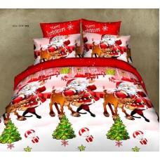 Lenjerie de pat cu 4 piese din bumbac satinat gros cu Mos Craciun - IO552
