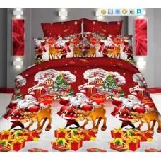 Lenjerie de pat cu 4 piese din bumbac satinat gros cu Mos Craciun - IO553
