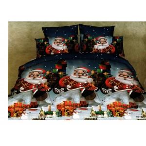 Lenjerie de pat cu 4 piese din bumbac satinat gros cu Mos Craciun - IO554